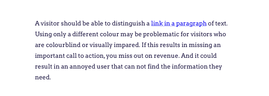Example of an underlined link in a paragraph